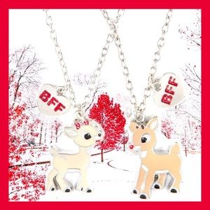 50 Year🆕Rudolph & Clarice BFF Silvery Necklaces